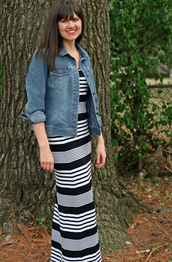 Striped maxi dress target