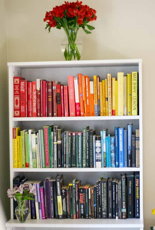 13 thoughts on taking the rainbow bookshelf plunge
