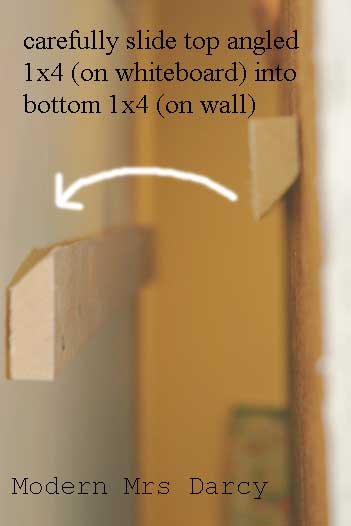 how to secure DIY whiteboard tutorial rain gutter bookshelves
