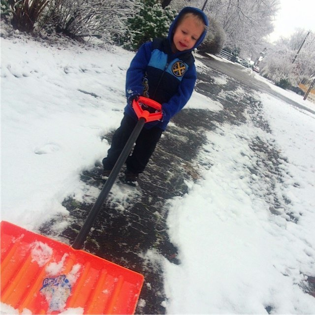 because shoveling is fun when you're two