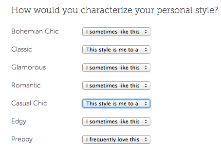 how to fill out Stitch Fix style profile