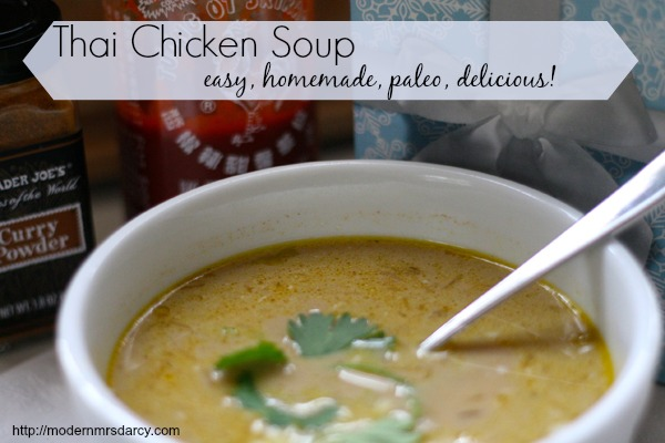 Easy homemade thai chicken soup: this recipe is so easy to make, is paleo and #whole30-approved, kid-friendly and totally delicious. Plus the broth makes it great for fighting off cold and flu germs. Give it a try! It's a family favorite.