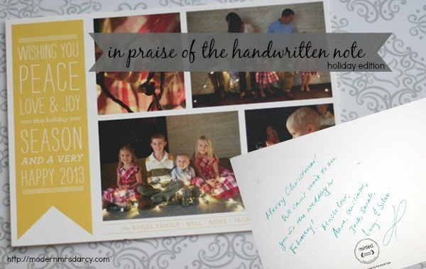 in praise of the handwritten note (holiday edition) | Modern Mrs Darcy