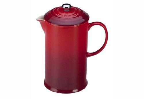 Le Creuset red stoneware french press