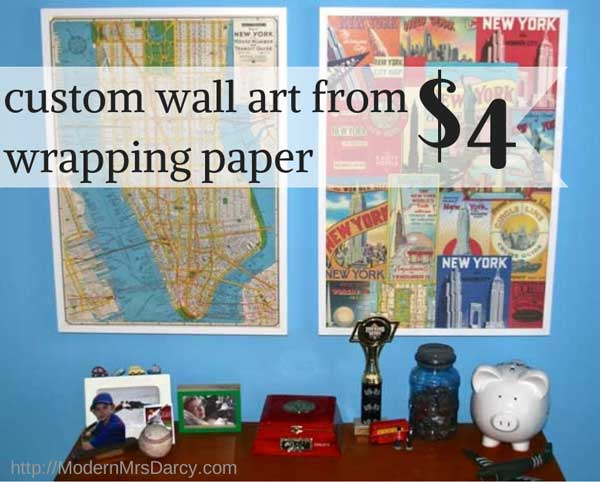 custom wall art from $4 wrapping paper