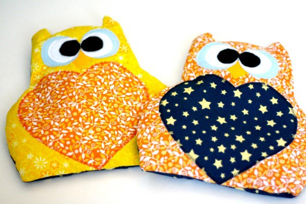 Rice-filled owl heating pads