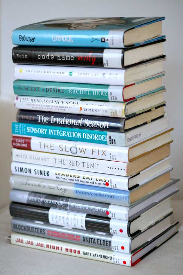 my stack of current library books