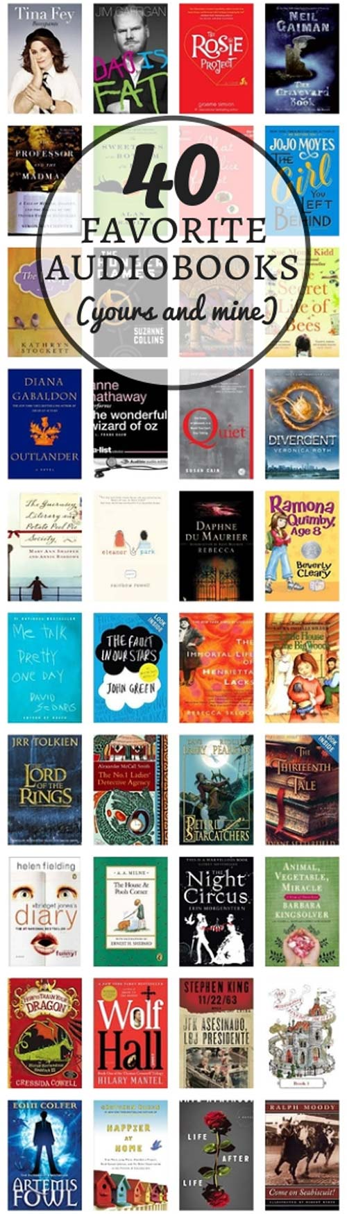 40 favorite audiobooks (yours and mine)