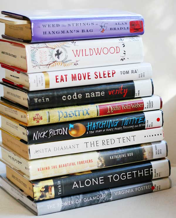 my current stack of library books