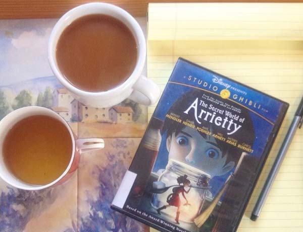 sick day drinking tea and watching Arrietty