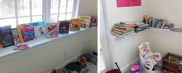 Laura Vanderkam's basement shelf display for books and basement reading nook