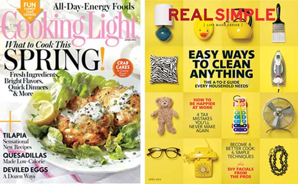 Cooking Light and Real Simple April issues