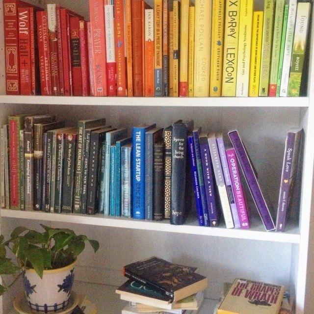 rainbow bookshelves in progress