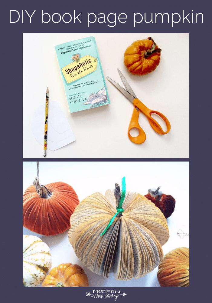 diy book page pumpkin
