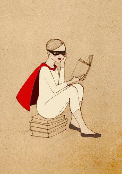 Superhero reader girl print