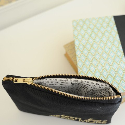 "A peek inside the inside of the ""strong coffee long books"" pencil pouch from Lucy Jane"