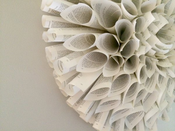 How to make a book page wreath, and more book art ideas.