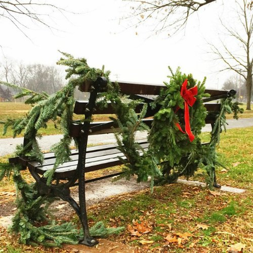 park bench all decked out for Christmas