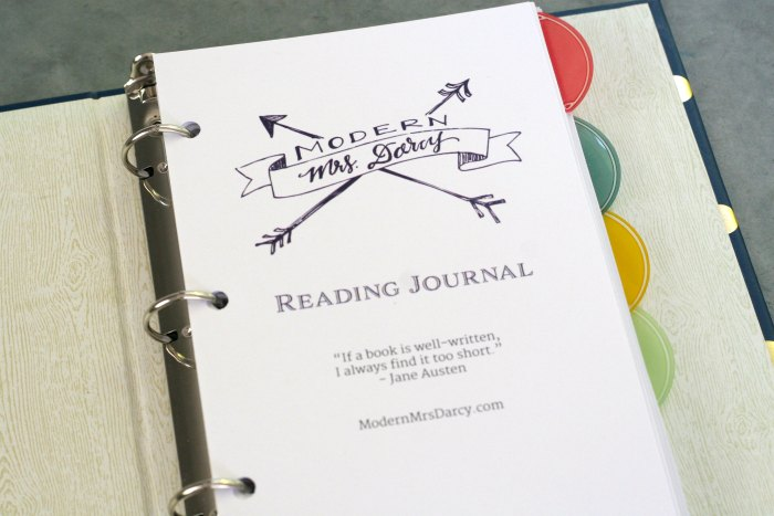 The MMD printable reading journal | Modern Mrs. Darcy
