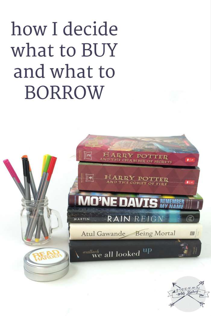 How I decide what to buy and what to borrow. Great tips for bookworms.
