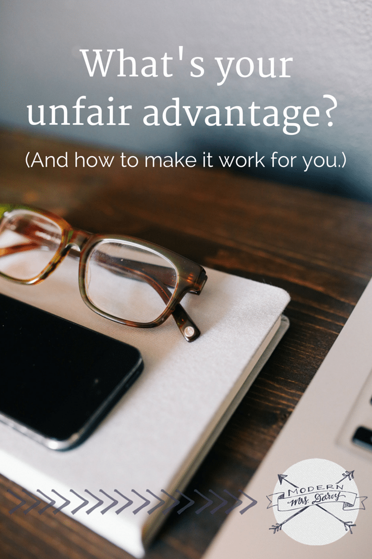 Have you ever considered what your unfair advantage might be? Identify your unfair advantage and make the most of it.