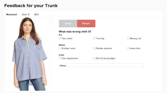 How to give feedback for Trunk Club for Women
