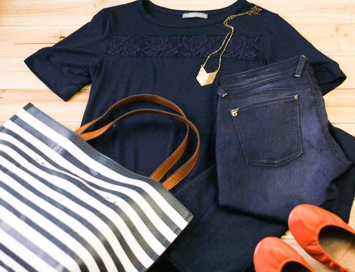 Early fall uniform: tee with a little summer extra, dark skinny denim, pendant, large tote, Tieks