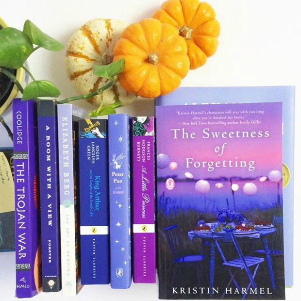 purple books and pumpkins