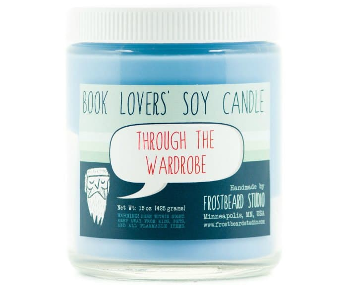 Book lovers soy candle through the wardrobe