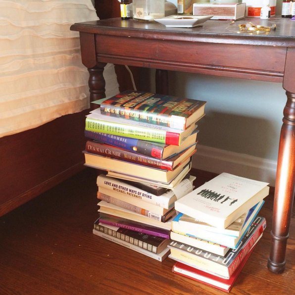 book stack nightstand