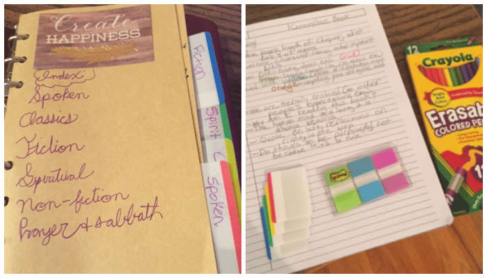 a small 6-ring binder showing lined paper inside, colored tabs separating different genres, and erasable colored pencils lying next to the notebook.