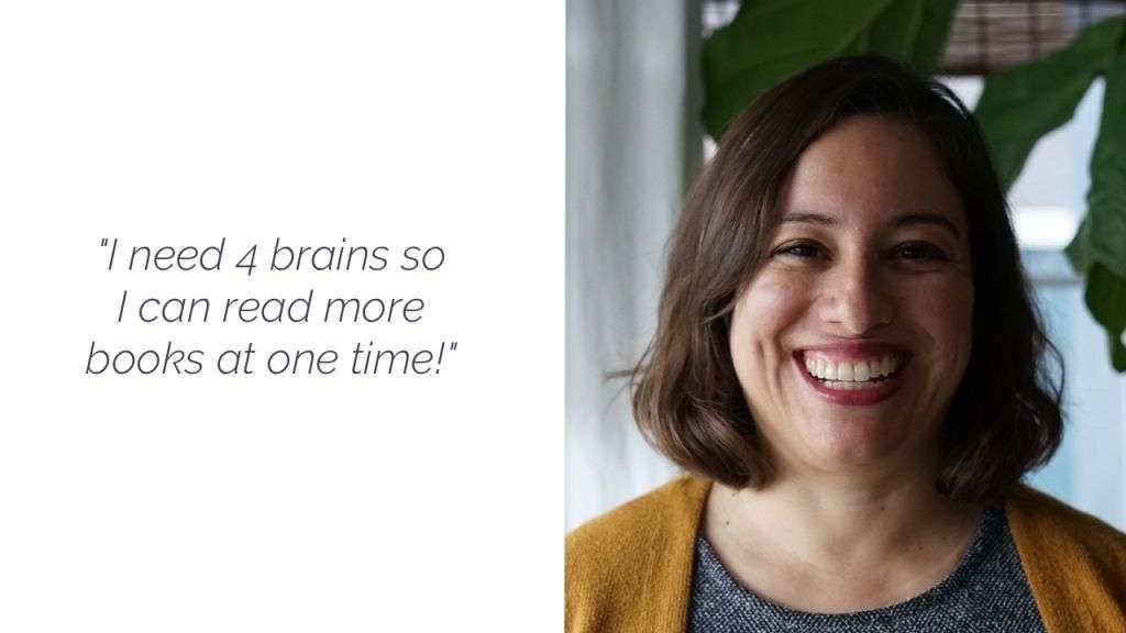 "Face of a smiling woman with bobbed brunette hair, next to a quote from the episode: ""I need 4 brains so I can read more books at one time."""