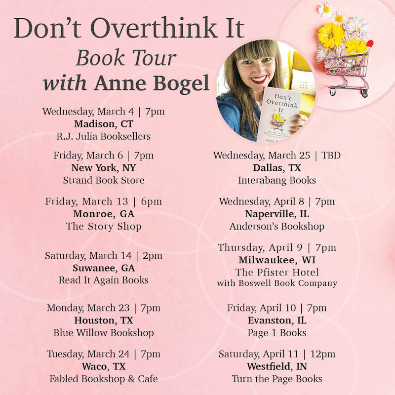 Don't Overthink It book tour dates 2020
