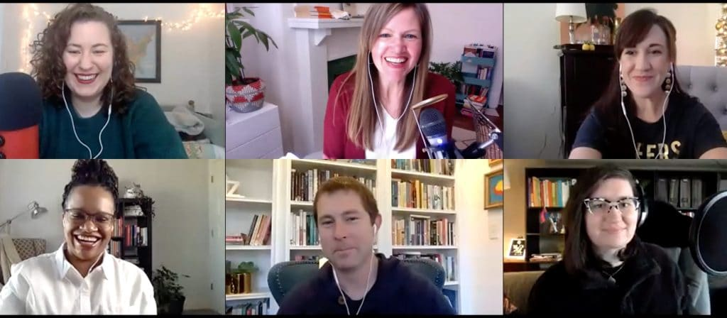 A screenshot of our Zoom event, with six book club members smiling and excited to talk about books.