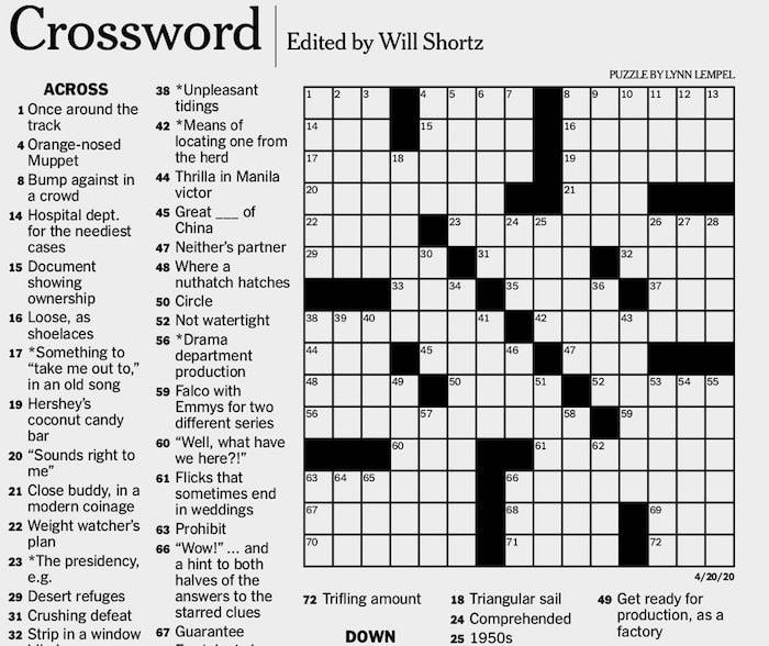 NYT Crossword Puzzle 1